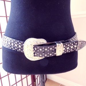 Ariat Wide Rhinestones Western  Belt Black Leather